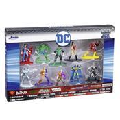 Conjunto De 10 Bonecos Liga Da Justiça Dc Comics Metal Nano Dtc