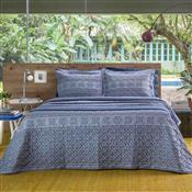 Kit Cobre Leito Solteiro Azul Luck 2 Pçs Home Design Santista
