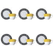 Conjunto Para Chá 12 Peças Honey Branco Preto E Amarelo Germer