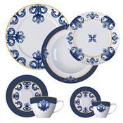 Aparelho De Jantar 42 Peças Porcelana Porto Branco E Azul Germer