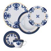 Aparelho De Jantar 30 Peças Porcelana Porto Branco E Azul Germer