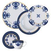 Aparelho De Jantar 20 Peças Porcelana Porto Branco E Azul Germer