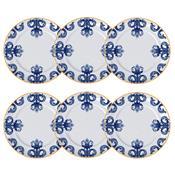 Jogo De Pratos Rasos 6 Peças Porto 28X2.5Cm Branco E Azul Germer
