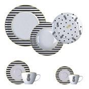 Aparelho De Jantar 42 Peças Porcelana Fancy Branco E Preto Germer