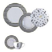 Aparelho De Jantar 30 Peças Porcelana Fancy Branco E Preto Germer