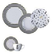 Aparelho De Jantar 20 Peças Porcelana Fancy Branco E Preto Germer