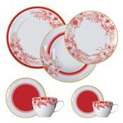 Aparelho De Jantar 42 Peças Porcelana Carmim Branco E Vermelho Germer