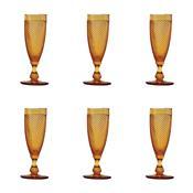 Jogo 6 Taças Vidro Para Champagne Bico De Jaca Âmbar 185Ml Bon Gourmet