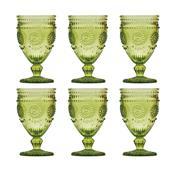 Jogo 6 Taças Vidro Para Água 340Ml Verde Aubusson Bon Gourmet