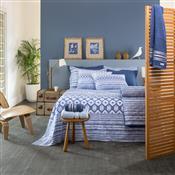 Jogo De Cama Duplo Casal Azul Akemi Home Design Santista