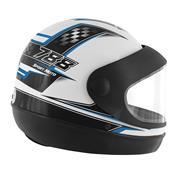 Capacete Super Sport Moto 788 Branco E Azul Pro Tork