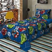 Jogo De Cama Infantil Solteiro Azul Estampado Avengers 140X 220Cm Lepper