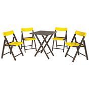Jogo Mesa E 4 Cadeiras Tramontina Potenza 10630045 Tabaco Amarelo
