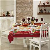 Toalha De Mesa Quadrada Lepper Natal Estampada 4 Lugares Vermelha