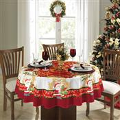 Toalha De Mesa Redonda Lepper Natal Estampada 4 Lugares Vermelha