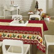 Toalha De Mesa Retangular Lepper Natal Sinos 6 Lugares Vermelha
