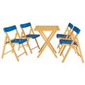Jogo Mesa E 4 Cadeiras Tramontina Potenza 10630033 Dobrável Azul