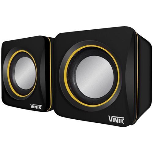 Caixa De Som 2.0 Usb 6W Preta Com Detalhe Em Amarelo Vinik