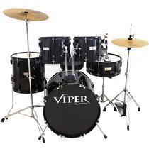 Bateria Com Banco E Pratos Preta Viper20 X-Pro Drums