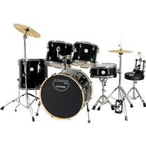 Bateria Com Banco E Pratos 2 Tons Stage Preta X-Pro Drums