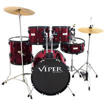 Bateria Com Banco E Pratos Vinho Viper18 X-Pro Drums