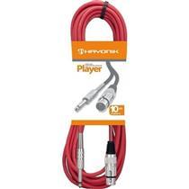 Cabo Para Microfone Xlr-F X P10 10 M Vermelho Player Hayonik
