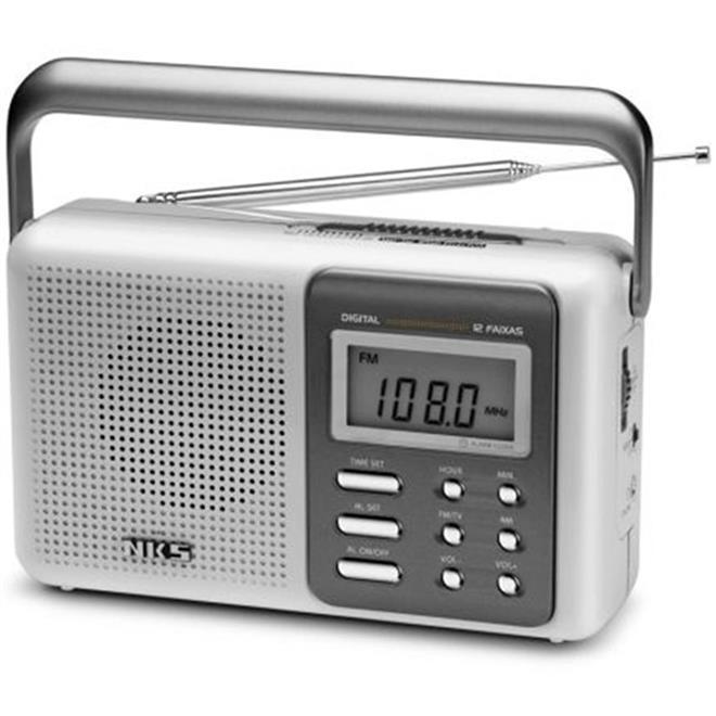 Rádio Relógio Portátil Com Despertador Display Digital Ac122 Nks