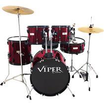 Bateria Com Banco E Pratos Vinho Viper20 X-Pro Drums