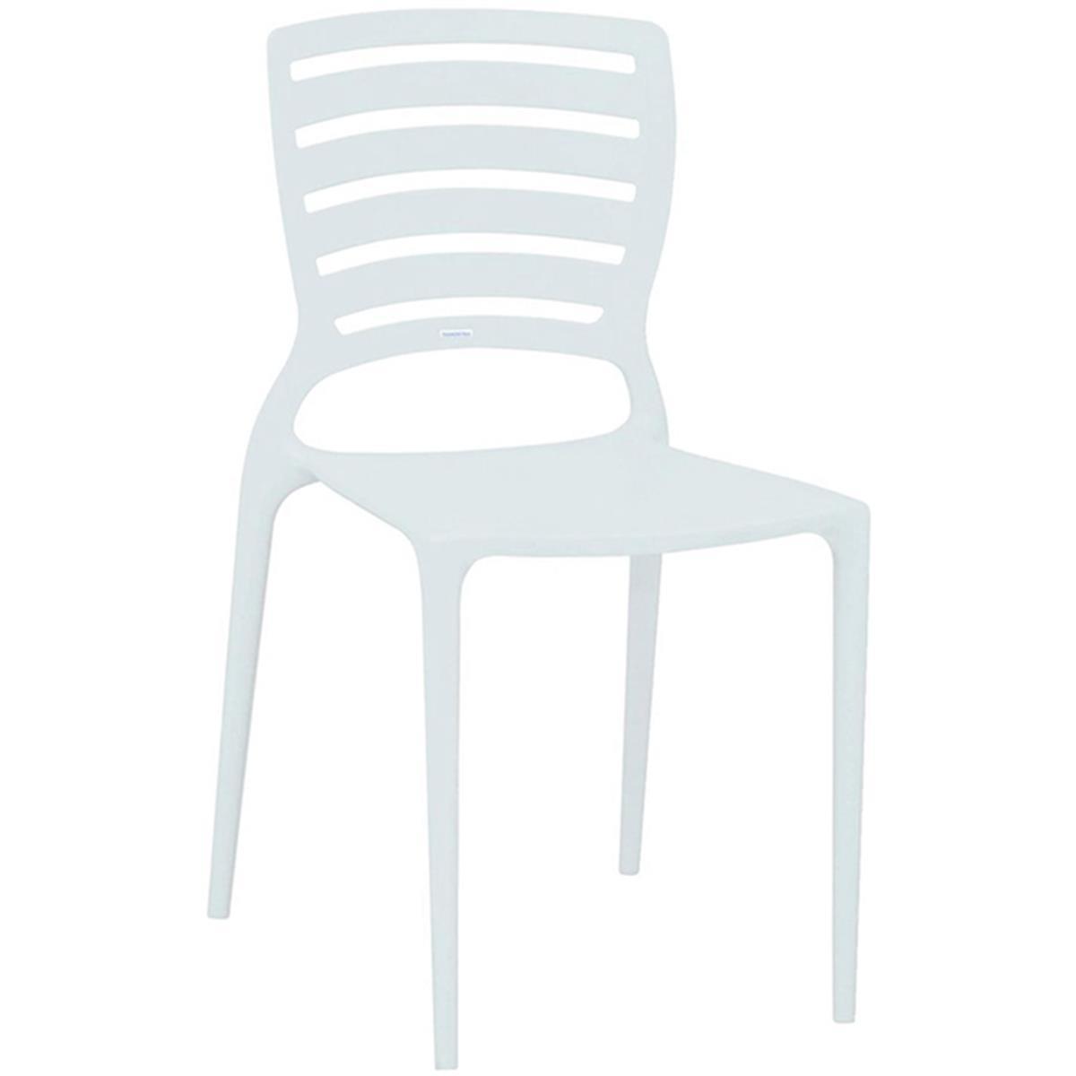 Cadeira Sofia Branca Resistente Monobloco Horizontal Tramontina