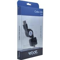 Cabo Usb Para Ipod Phone Retratil Preto 60Cm Ebolt