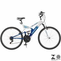 Bicicleta Fischer Hill Razer Aro 26 Full Suspensão 21 Marchas - Azul/branco