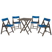 Jogo Mesa E 4 Cadeiras Tramontina Potenza 10630030 Tabaco E Azul