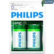 Pilha D Grande Carbono Longlife R20l2b97 Philips
