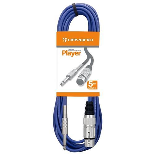 Cabo Para Microfone XLR-F X P10 5 Metros Azul Player Hayonik
