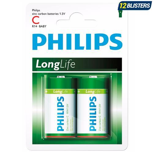 Pilhas Long Life Zinco Carbono 1,5V 2 Un R14l2b97 Philips