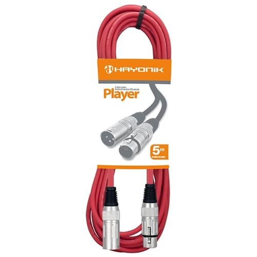 Cabo Para Microfone Xlr-F X Xlr-M 5M Vermelho Player Hayonik
