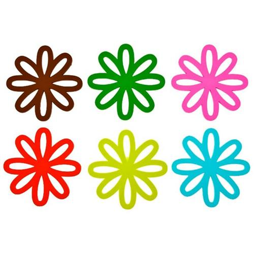 Kit 6 Porta Copos Em Pvc Desenho De Flores Pt0026 Gift4u