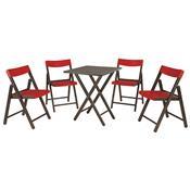 Jogo Mesa E 4 Cadeiras Tramontina Potenza 10630029 Tabaco/Vermelho