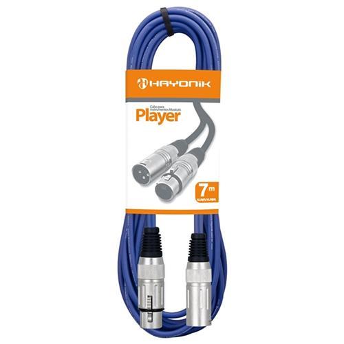 Cabo Para Microfone Xlr(F) X Xlr(M) 7M Azul Player Hayonik