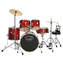 Bateria Com Banco Pratos 2 Tons Stage Vermelha X-Pro Drums