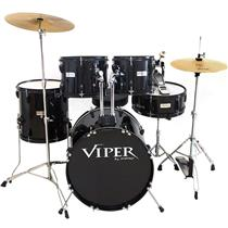 Bateria Com Banco E Pratos Preta Viper18 X-Pro Drums