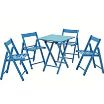 Conjunto de Mesa e 4 Cadeiras Dobravéis Azul Doce Tramontina