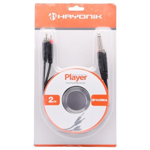 Cabo De Áudio 2 P10 X 2 Rca 2 Metros Preto Player Hayonik