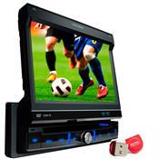 Kit Auto Rádio Com Tv E Dvd Player Usb Mp3 Positron e Pen Drive 32GB Adata