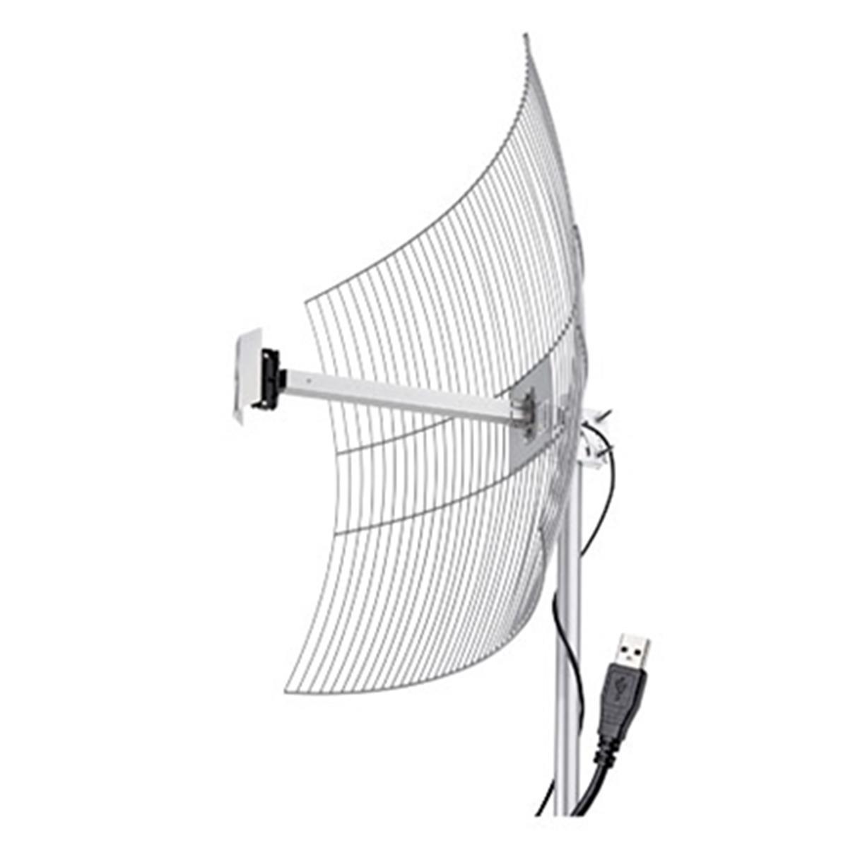 Antena Internet Parábola Grade Usb - 2510 25Dbi Cabo De 10 Metros E Conector Usb Aquário