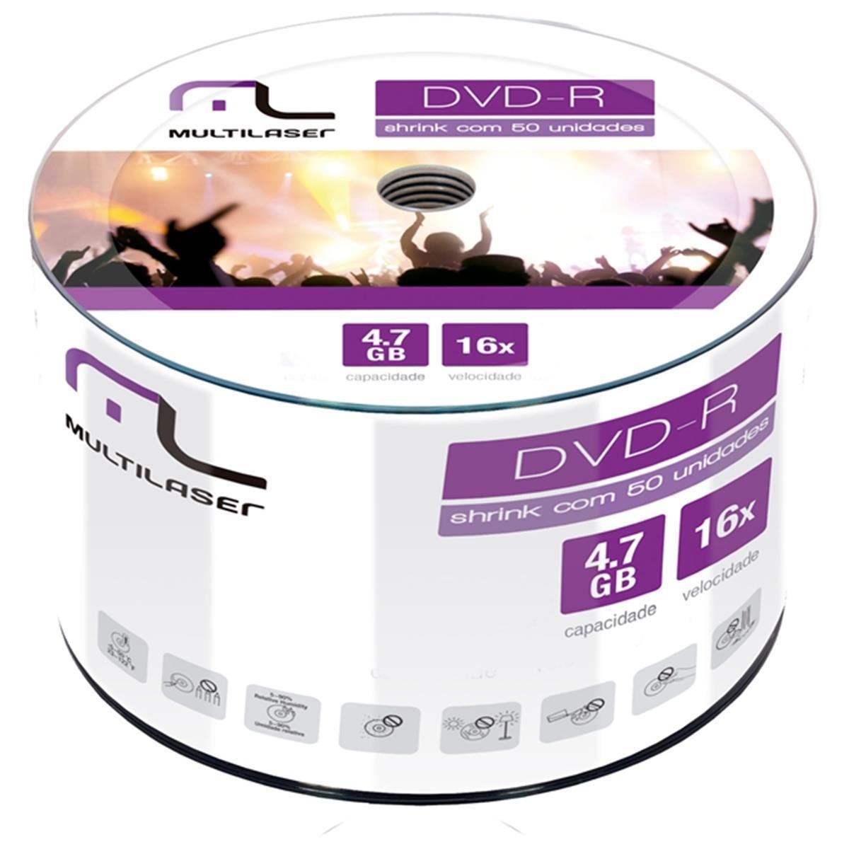 Dvd - R 4.7Gb 16X 50 Unidades Lacrado Dvd50shrink Multilaser