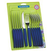 Conjunto De Talheres 12 Peças Azul 23299158 Tramontina