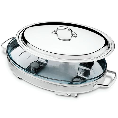 Rechaud Oval Com Velas E Refratório Vidro 61109400 Tramontina