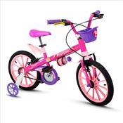 Bicicleta Infantil Feminina Top Girls Aro 16 C/ Cestinha Rosa Nathor