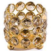 Castiçal Dourado Redondo Cristais Champagne Decorvision
